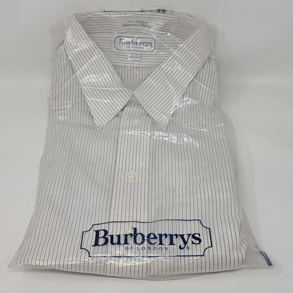 VTG Burberrys Pin-Stripe LS Button-up Shirt 17-36